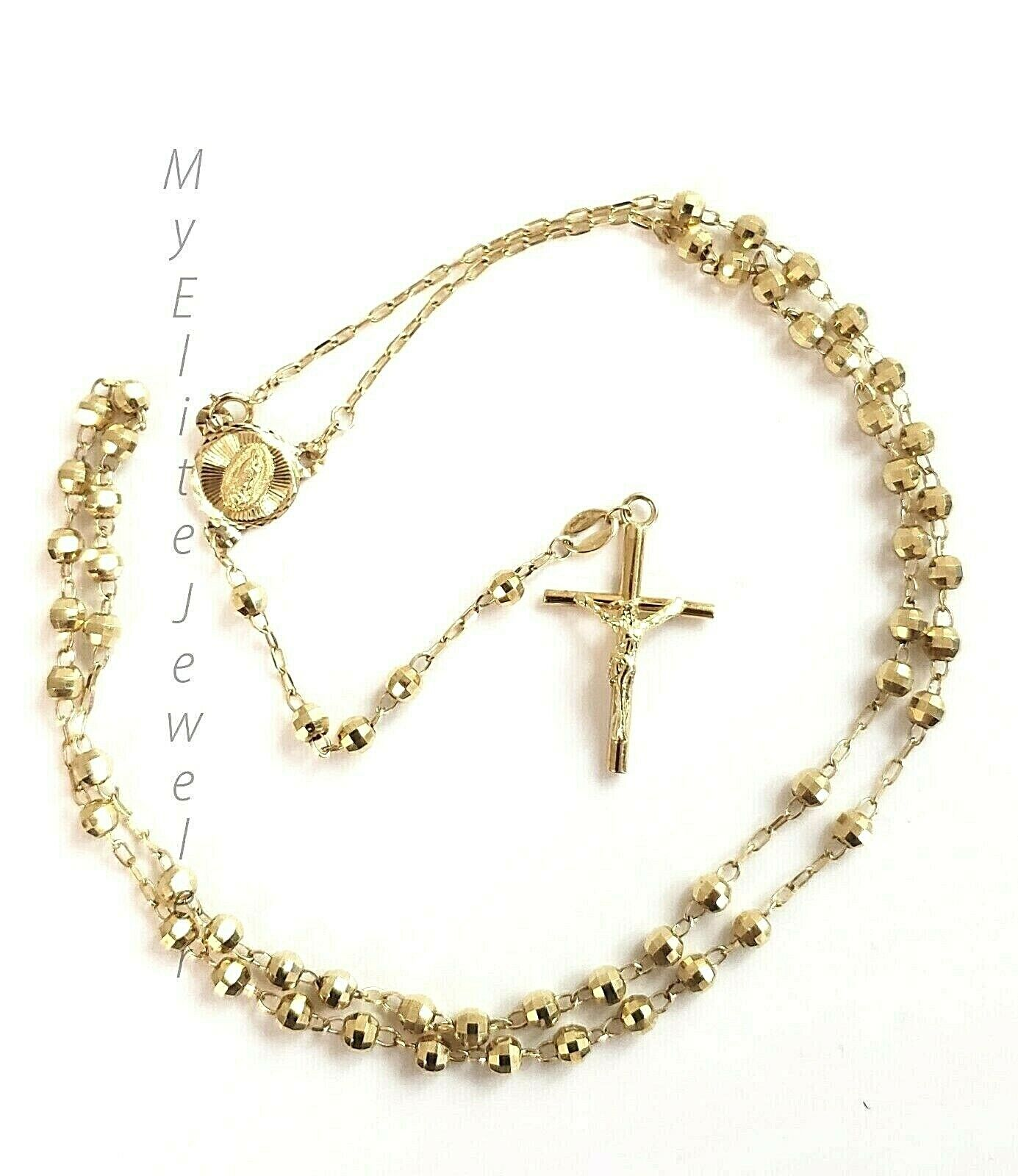 10K  Yellow Gold Chain Rosary Beads Necklace With Jesus Cros