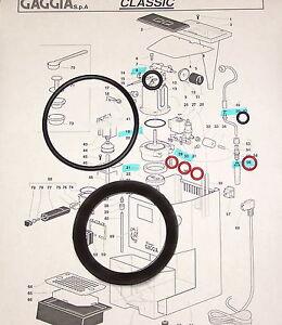 gaggia classic baby evolution twin espresso coffee full gasket repair kit ebay. Black Bedroom Furniture Sets. Home Design Ideas