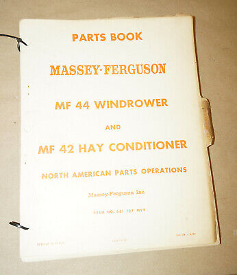 1967 Massey Ferguson 44 Windrower 42 Hay Conditioner Parts Book Manual 651127m94