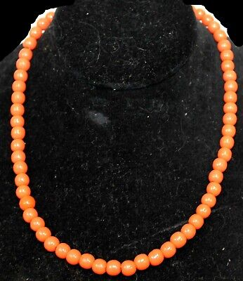 60s -70s Jewelry – Necklaces, Earrings, Rings, Bracelets Vtg 1960s Coral Beaded Strand Necklace Strung Dark Orange 8