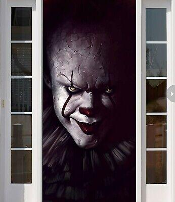 It Full Color Halloween Banner Outdoor Cover for Hause Decoration Front Door B11 (Halloween Front Door Covers)