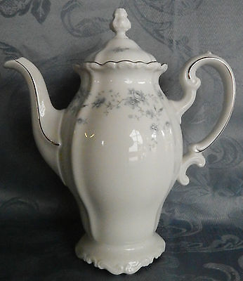 Johann Haviland Bavaria Blue Garland Coffee Pot Platinum Trim