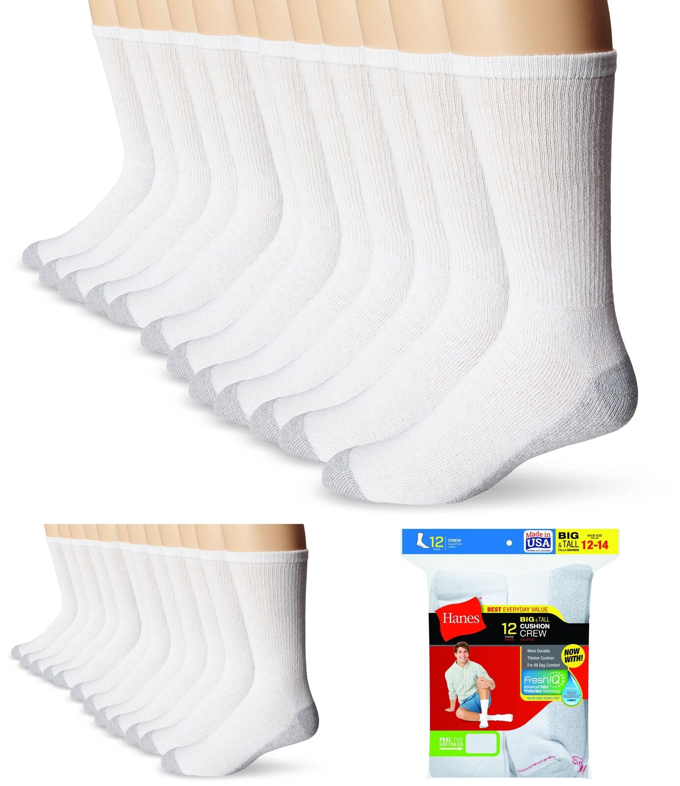 Hanes Men/'s Crew Socks Pack of 12 Cushion Comfort Cotton Fresh IQ size 6-12 NWT