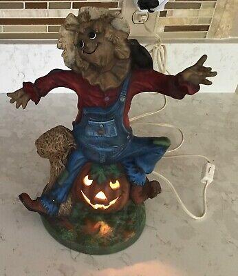 Halloween vintage ceramic Straw man with pumpkins ghost