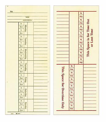 Adams Time Cards Weekly 2-sided Overtime Format 3-38 X 8-14 Manila