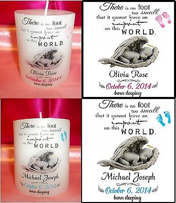 Personalized Baby Boy/Girl Mini Pillar Memorial Candle Keepsake Gift Decoration
