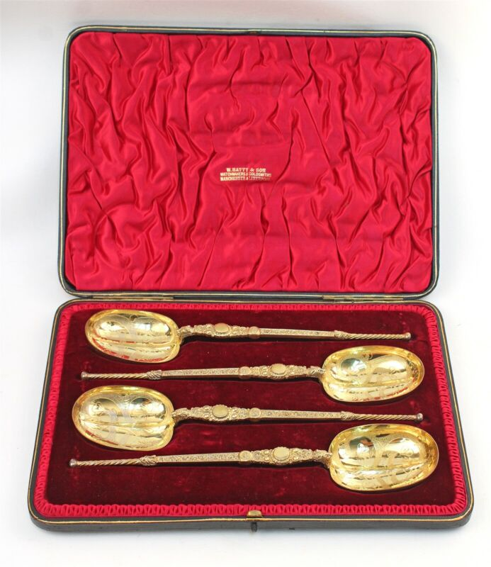 Boxed 1901 English Sterling Set Large Anointing Coronation Gilt Spoons