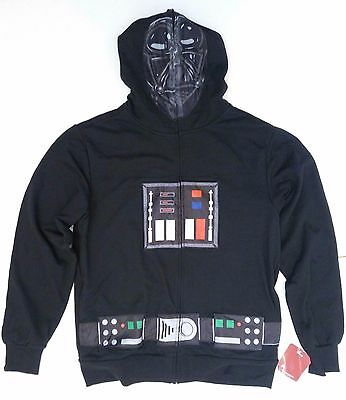 Mens Star Wars Darth Vader Costume Hoodie Cape Sweatshirt Zip Up Mask M L NEW - Star Wars Costume Hoodie