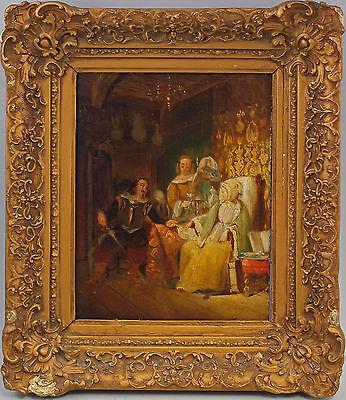 Öl-Gemälde signiert Historische Szene Aufwartung Interieur um 1880/1900  7760058