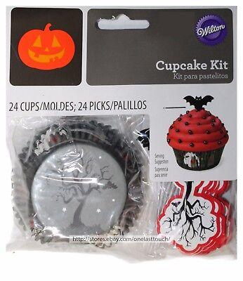 WILTON*48pc Cupcake Kit TREES+BATS Gray+Black+White+Red HALLOWEEN Cups+Picks NEW (Halloween Red Cupcakes)