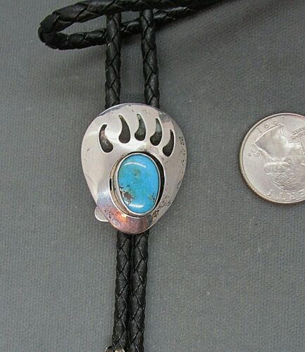 VTG  SW  SHADOWBOX  TURQUOISE  BEAR  PAW  BOLO  TIE  D.F. GARCIA   STERLING