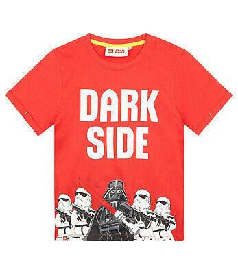 Boys Kids Official Lego Star Wars Red Darth Vader Short Sleeve T Shirt Top