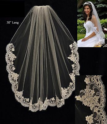 Alencon Lace Edge Fingertip Length Bridal Veil White Ivory Diamond White (Diamond White Veils)