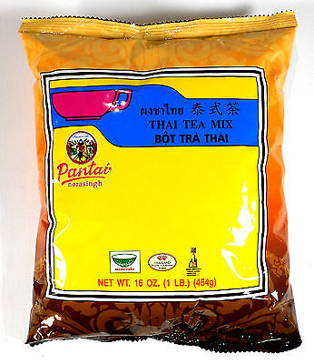 2 Bags Best Thai Tea Leave Mix Pantai (Pantainorasingh) Brand 16 oz. (Best Thai Tea Mix)