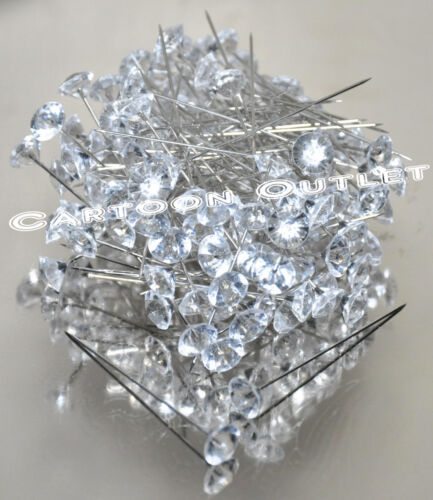 144 DIAMOND HEAD PINS WEDDING CORSAGE BOUQUET PIN NEEDLES BOUTONNIERE FLOWER 2""