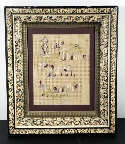 "Antique Victorian Paperpunch Motto Verse ""LITTLE CHILDREN LOVE ONE ANOTHER"""