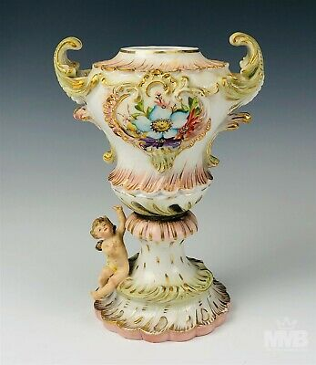 Vase A 10 inch Nora Fenton Designs Hand Decorated Porcelain Featuring Hibiacus Flowers and Bees Vase