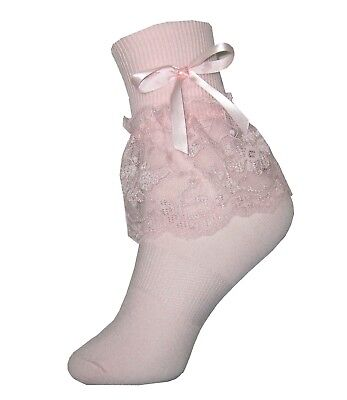 Soft PINK Lacy Ruffle Bow Socks for Adult Little Girl Sissy Dress up LEANNE