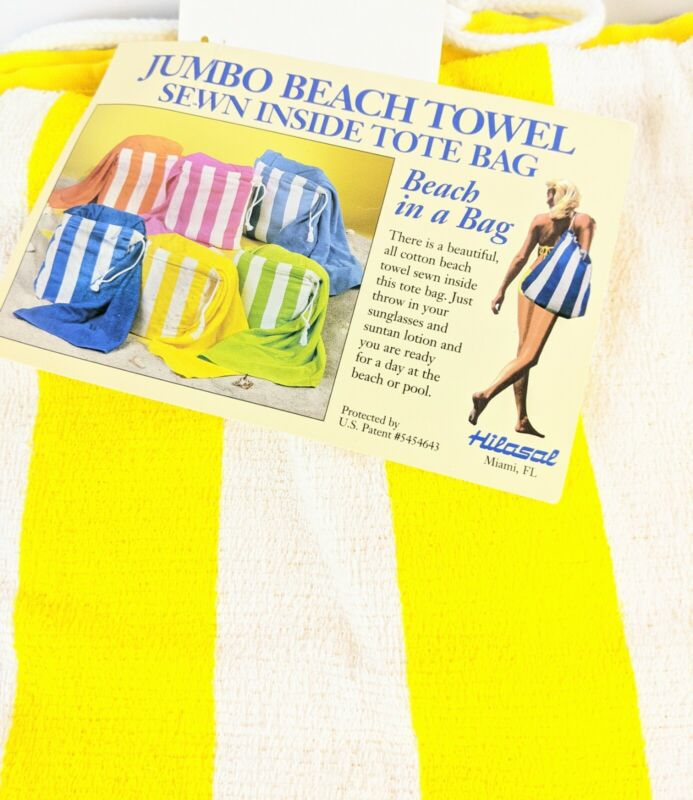 Vintage Hilasal Towel Jumbo Beach Converts to Tote Bag Beach in a Bag Wards NOS