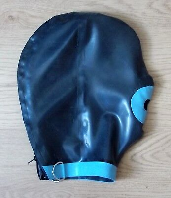 Latex Rubber BALL GAG Hood  FULLY Fitted in sizes: Small to XL B-NEW