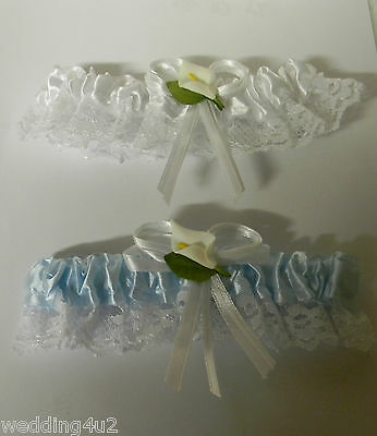 Wedding Party Ceremony Reception Calla Lily Garters White & Blue 2 Piece Set