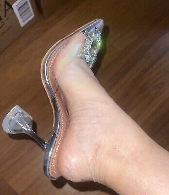 Amina Muaddi Trendy Clear Heels