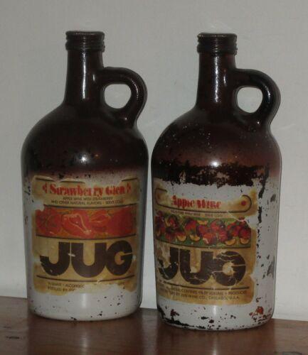 Vintage Brown Jugs pair Strawberry Glen & Apple Wine 4/5 Qt Jug By Jug Wine Co.