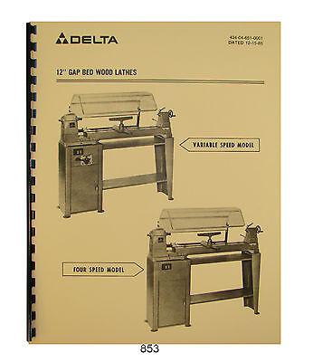 Delta Model 46-612 Others 12 Gap Bed Wood Lathe 4 Speed Vari Speed 864