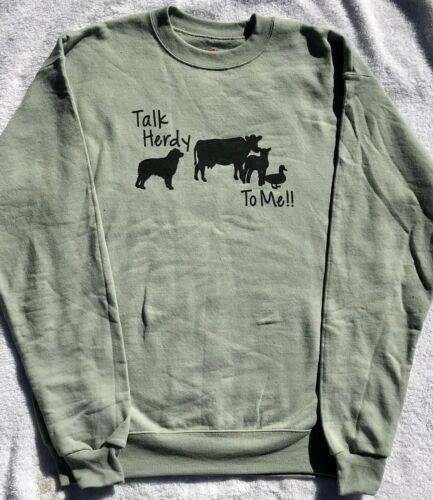 Aussie Rescue - large Talk Herdy to me sweatshirt - stonewashed green
