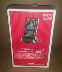 NEW Compact Digital Photo Frame w/Alarm Clock, Calendar, Indoor Temperature