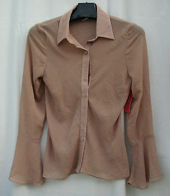L~NWT VIVI Fashion SHEER Original Beige Tan SPRING Top $3.50SH Made USA Flare Vivi Fashion