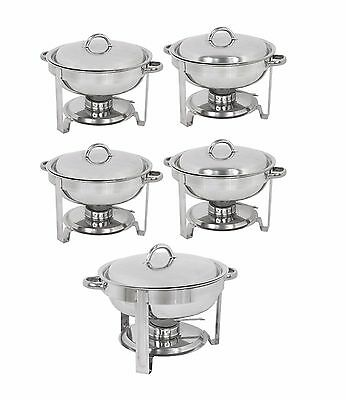 5-Pack Round Chafing Dish Buffet Chafer Warmer Set w/Lid 5 Quart,Stainless Steel Business & Industrial