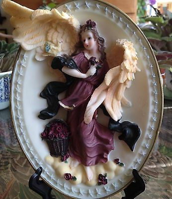 Oval 3D Angel/Roses With Easel Bisque FREE Shipping NEW!