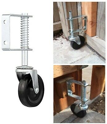 4 Spring Loaded Rubber Wheel Gate Caster Gate Support Woodchain Link Fences