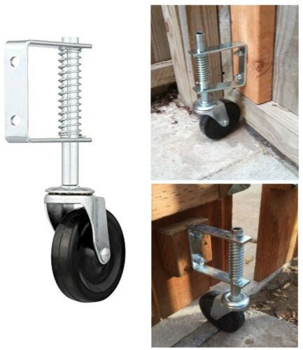 "4"" Spring Loaded Rubber Wheel Gate Caster Gate Support Wood/Chain Link Fences"
