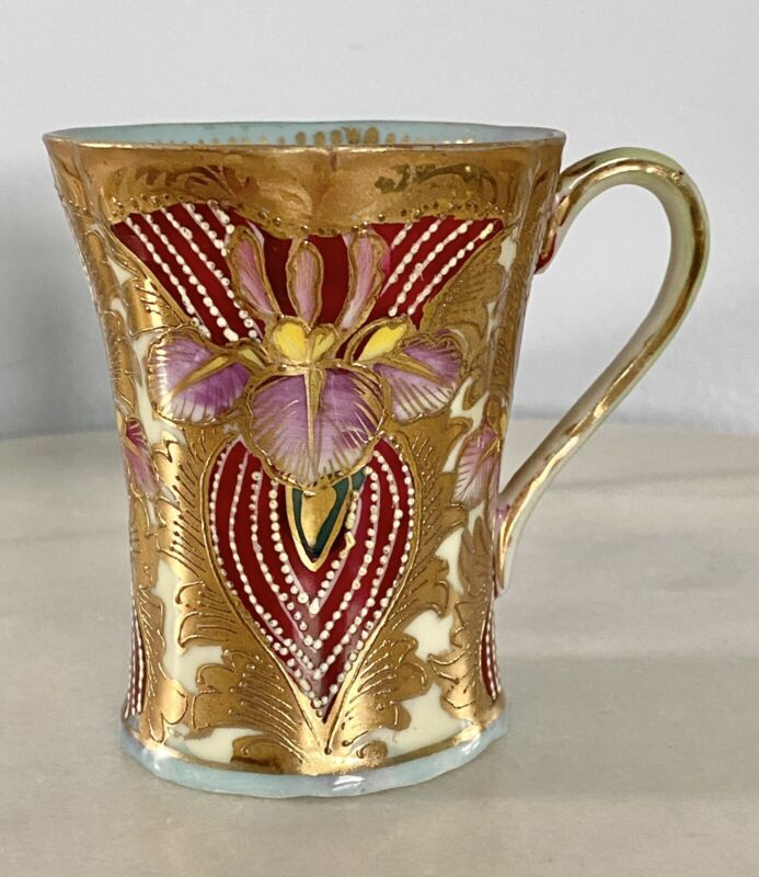 Antique CHINESE GOLD GILD TRANSLUCENT PORCELAIN IRIS TEACUP CHOCOLATE COFFEE CUP