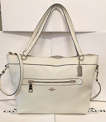 Coach Tyler F54687 Chalk Pebbled Leather Large Tote Convertible Shoulder Bag