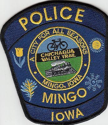 """MINGO IOWA IA POLICE PATCH (TRAIN) """"CHICAQUA VALLEY TRAIL"""""""