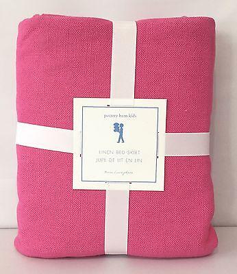 POTTERY BARN KIDS Linen TWIN Bedskirt, BRIGHT PINK, NEW