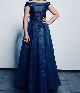 Women's blue off shoulder gown