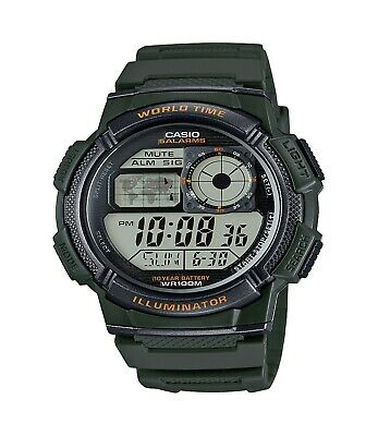 Casio Digital Illuminator Watch - Casio Men's Quartz Illuminator Digital Green Resin Strap 44mm Watch AE1000W-3A