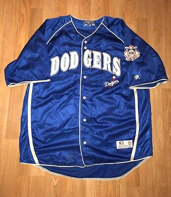 LA Dodgers True Fan Genuine Merch Baseball Jersey Blue Embroidered Sz Xlarge