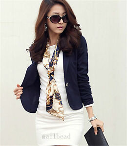 New Women Ladies Jacket Coat One Button Long Sleeve Short Suit Blazer Outerwear