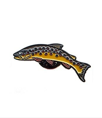 Brown Trout Enamel Pin- Fly Fishing badge Brooch