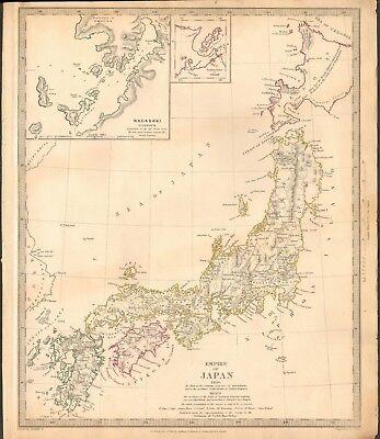 1835 ANTIQUE MAP- SDUK - EMPIRE OF JAPAN, INSET NAGASAKI HARBOUR
