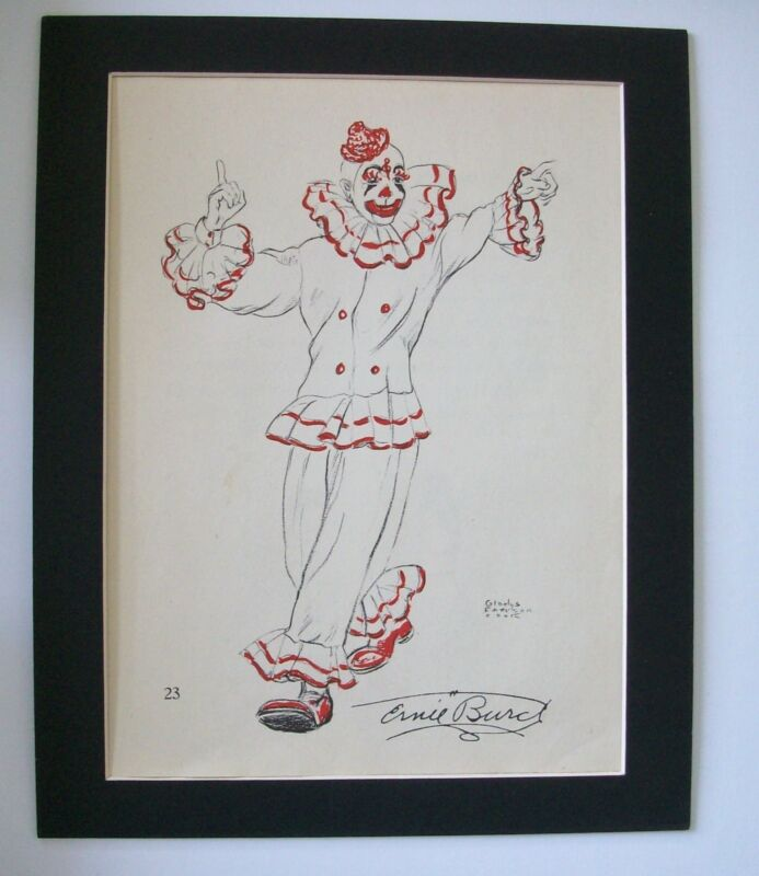 Famous Clown Print Ernie Blinko Burch Gladys Emerson Cook Bookplate 1956 Matted