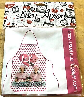 I Love Lucy Kitchen Apron- Chocolate Factory- Lucy Ethel -pink  fits most sizes