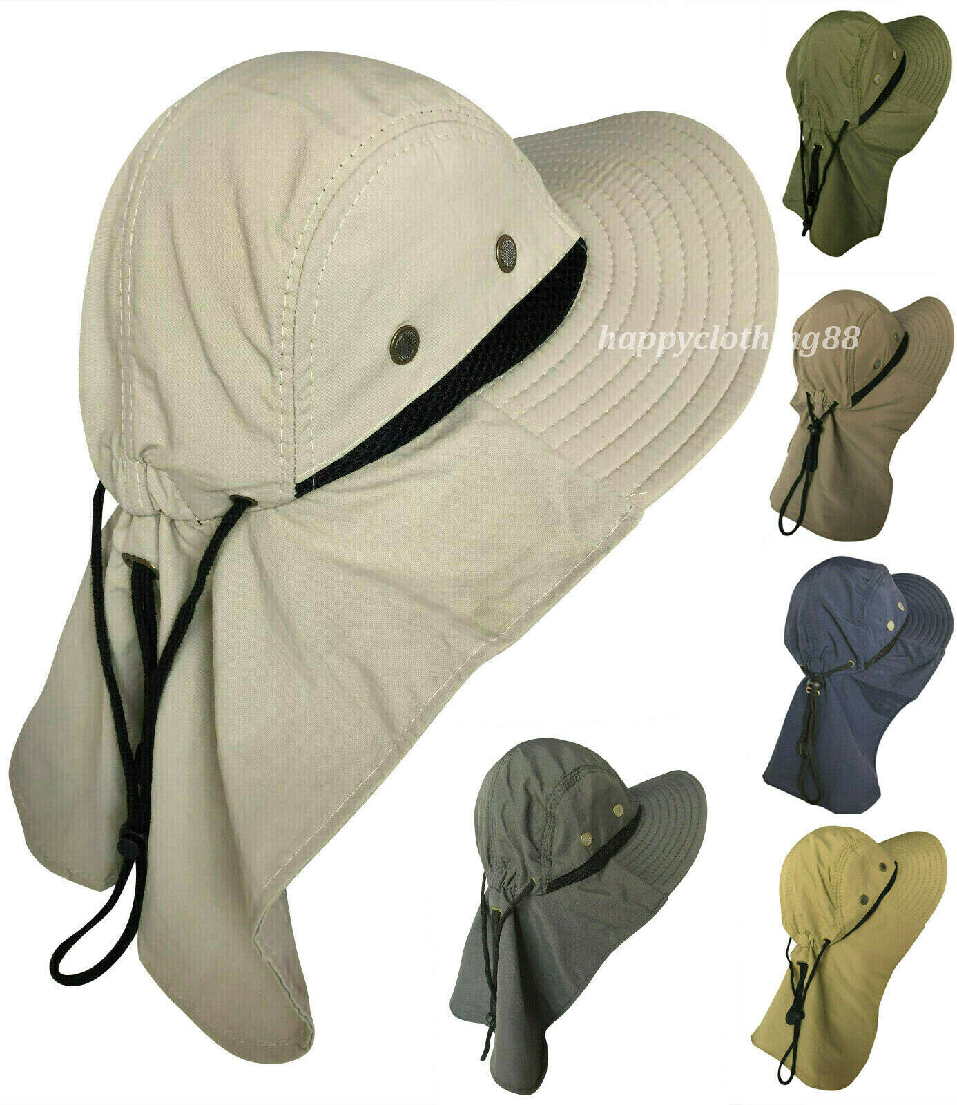 Men Women Hat With Neck Flap Fishing Hiking Outdoor UV Protection Sun Hat