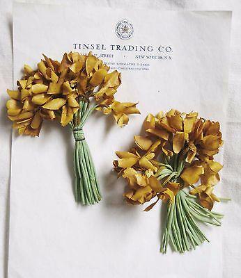 2 Bu Great Antique Vintage Gold Mum Nosegay Millinery Hat Flower UNUSED