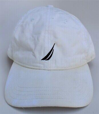 NAUTICA Baseball Cap Hat One Size Strapback White 100% Cotton 6-Panel